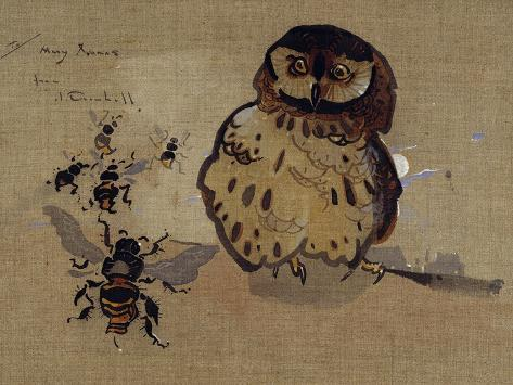 Owl and Bees Giclée-Druck