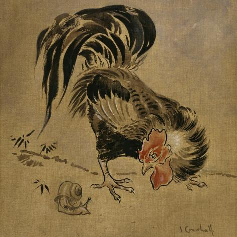 Spanish Cock and Snail Giclée-Druck