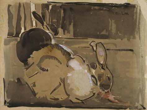 Two Rabbits, One Eating Carrots Giclée-Druck