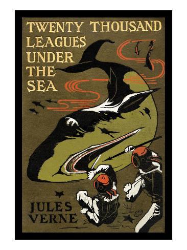 Cover Van 20000 Mijlen Onder Zee In Het Engels Poster Van Jules