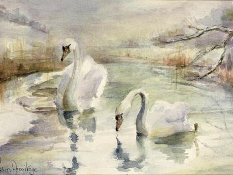 Swans in Winter Giclée-Druck