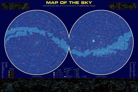sternenhimmel karte Karte vom Sternenhimmel Bedruckte aufgespannte Leinwand bei  sternenhimmel karte