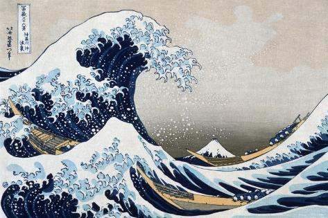 De grote golf van Kanagawa, uit de reeks: 36 uitzichten op de berg Fuji, ca.1829 Poster