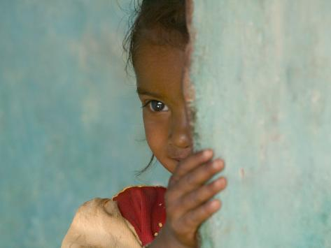 Portrait of Little Girl, Orissa, India Premium-Fotodruck