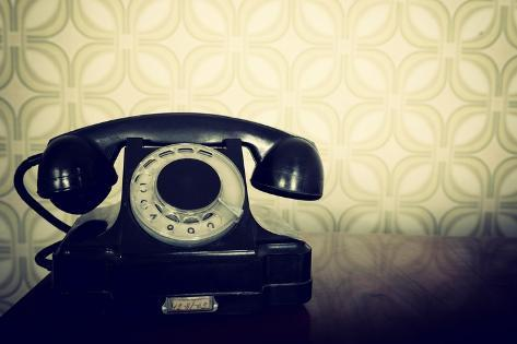 Vintage Old Telephone Black Retro Phone Is On Wooden Table Over
