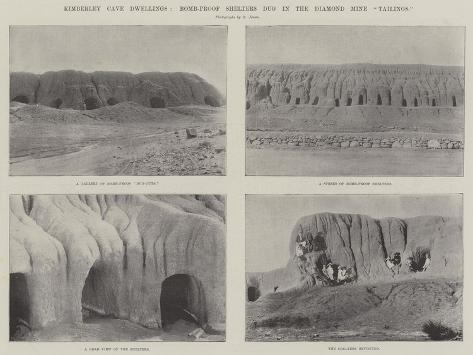 Kimberley Cave Dwellings, Bomb-Proof Shelters Dug in the Diamond Mine Tailings Giclée-Druck