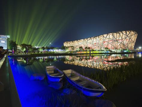 Night Time Light Show at the Birds Nest Stadium During the 2008 Olympic Games, Beijing, China Fotografie-Druck