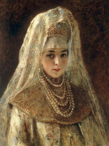 A Girl in a Boyar Costume Giclée-Druck