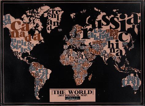 The World, 2011 Political Map (Black) Serigrafie