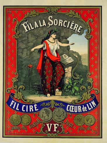 Label for 'Fil a La Sorciere' Brand of Sewing Thread Giclée-Druck