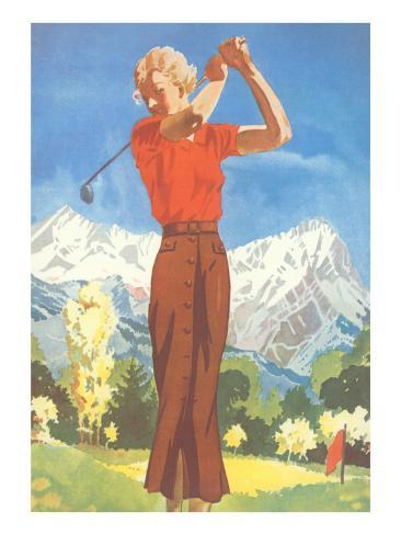 Lady Golfing in the Mountains Kunstdruck