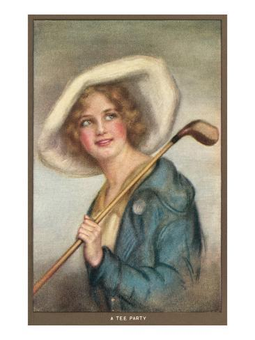 Lady in Hat with Golf Club Kunstdruck