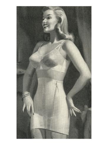 Lady with Good Posture in Underwear Kunstdruck