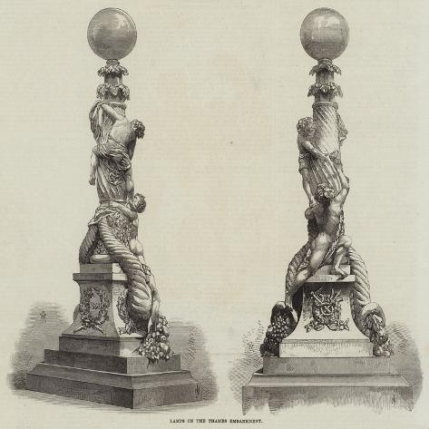 Lamps on the Thames Embankment Giclée-Druck