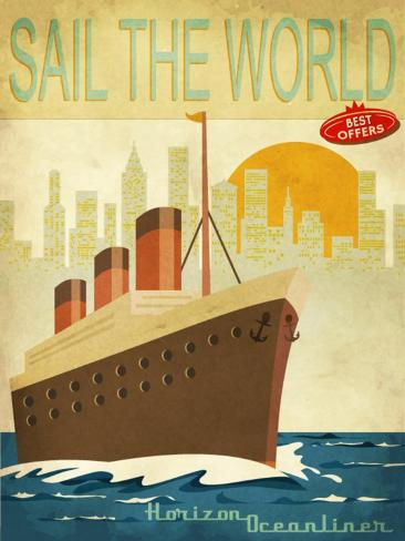 Sail The World - Vintage Poster With Ocean-Liner And Cityscape Kunstdruck