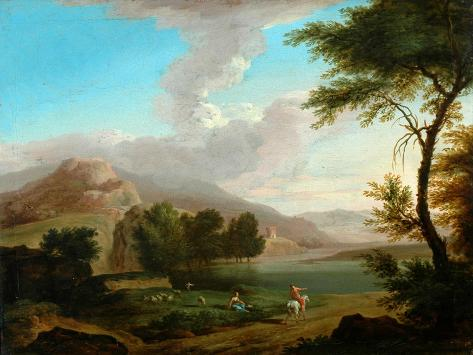 Landscape with Figures by a Lake Giclée-Druck