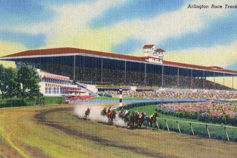 Arlington Heights, Illinois - Horse Race at Arlington Race Track Kunstdruck