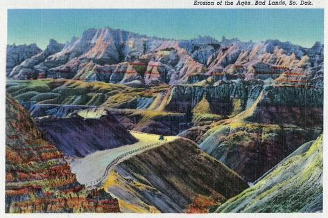 Badlands National Park, South Dakota, View of the Erosion on the Rocks Kunstdruck