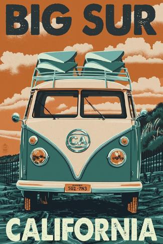 Big Sur, California - VW Van Blockprint Kunstdruck