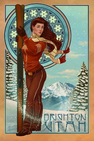 Brighton, Utah - Art Nouveau Skier Kunstdruck