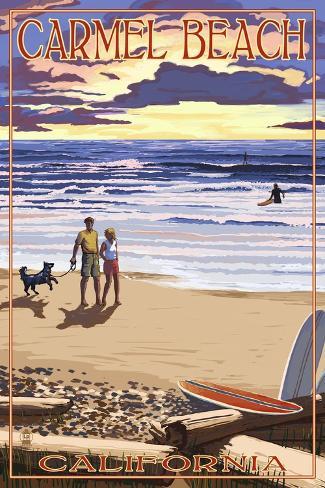 Carmel Beach California Sunset Beach Scene Posters Van Lantern