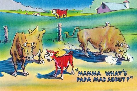 Comic Cartoon - Red Calf Asking Mamma Cow Why Papa Bull is Mad Kunstdruck
