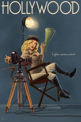 Hollywood, California - Directing Pinup Girl Giclée-Premiumdruck