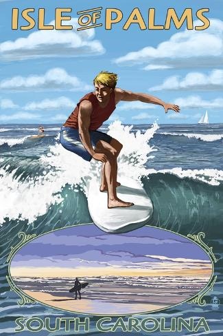 Isle of Palms, South Carolina - Surfing Scene Kunstdruck