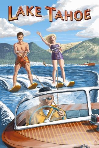 Lake Tahoe - Water Skiing Scene Kunstdruck