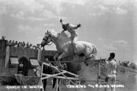 Nebraska - White Horse Ranch; Riding in White Kunstdruck