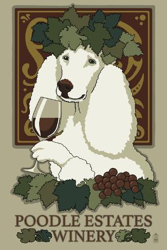Poodle - Retro Winery Ad Plastikschild