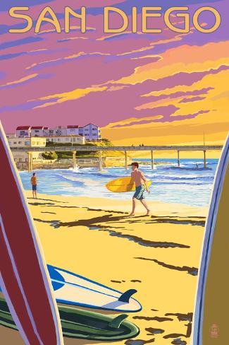 San Diego, California - Beach and Pier Kunstdruck