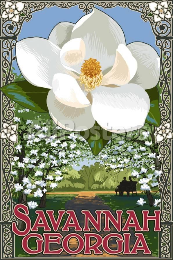 Single White Magnolia - Savannah, Georgia Kunst von Lantern Press ...
