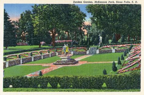 Sioux Falls, South Dakota, McKennan Park View of the Sunken Gardens Kunstdruck