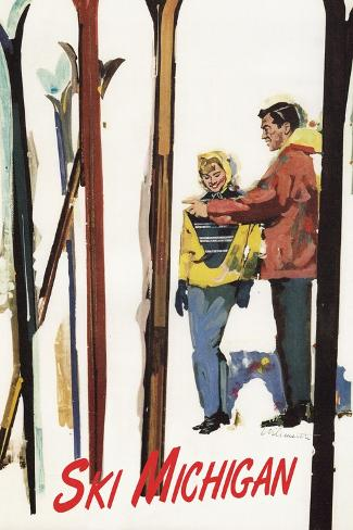 Ski Michigan - Couple by Skis in the Snow Kunstdruck