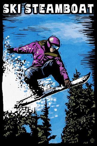 Ski Steamboat - Snowboarder - Scratchboard Kunstdruck