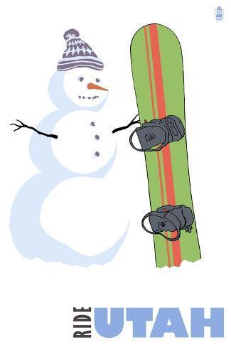 Utah, Snowman with Snowboard Kunstdruck