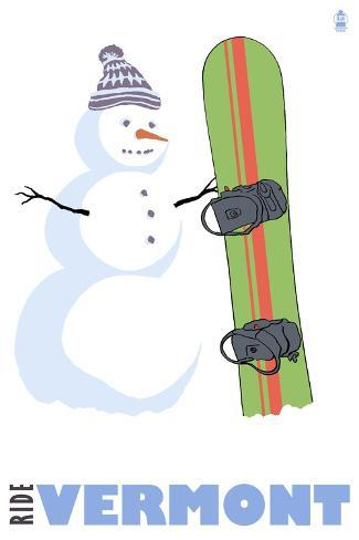 Vermont, Snowman with Snowboard Kunstdruck