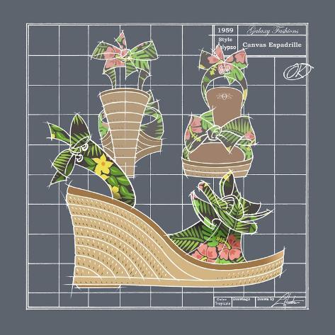 Galaxy Shoes - Espadrille Tropicale Black Giclée-Druck