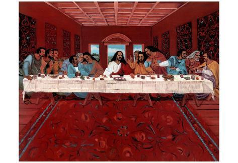 Last Supper Black Jesus Christ Religious Print Poster Poster Bij