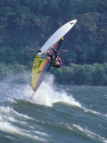 Windsurfing in Hood River, Oregon, USA Fotografie-Druck