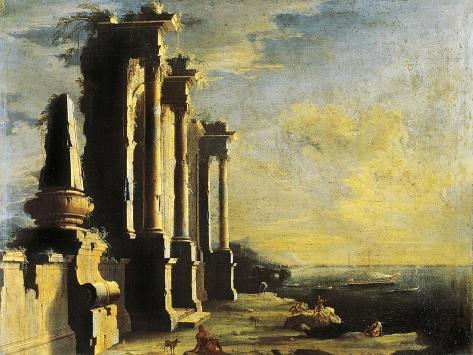 Harbor with Ruins Giclée-Druck