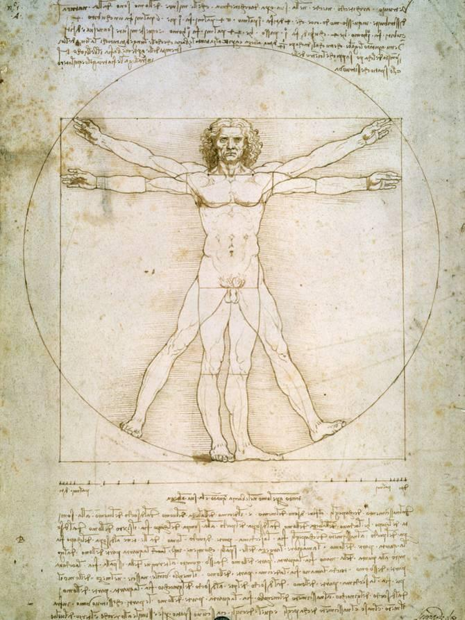 Vitruvianischer Mensch, Vitruvian Man, ca. 1492 Giclée-Druck von ...