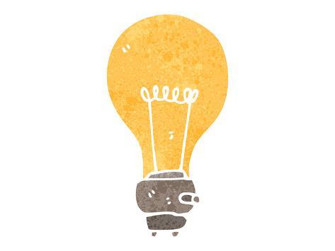 Retro Cartoon Light Bulb Symbol Poster Van Lineartestpilot Bij