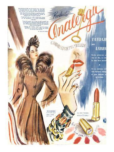 Lipstick, Magazine Advertisement, France, 1930 Giclée-Druck