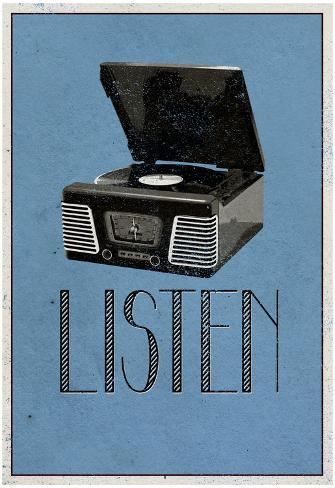 Listen Retro Record Player Art Poster Print Poster