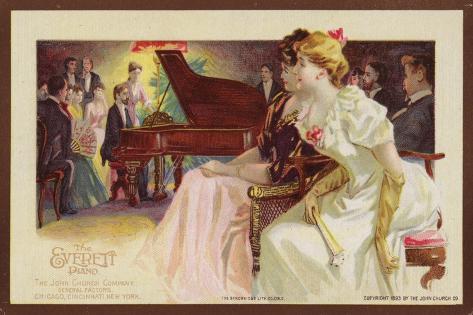 Listening to a Piano Recital Giclée-Druck