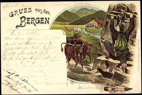 Litho Gruß Aus Den Bergen, Zerbrochene Weinflasche, Mann Flüchtet Vor Kühen Giclée-Druck