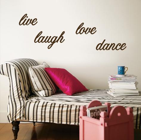 Live, Laugh, Love, Dance - Brown Wandtattoo