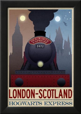 London- Scotland Hogwarts Express Retro Travel Poster Laminiertes gerahmtes Poster